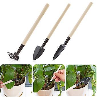 3pcs/set Mini Shovel Rake Set Wooden Handle Metal Head Shovel for Flowers Potted Plants Mini Garden Tool Seed Disseminators
