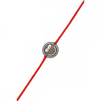 Smiley Black Silver cord bracelet and red cord 'apos;Peace and Love'