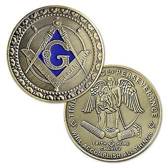 Geloof hoop liefdadigheid vierkant kompas g ijzer koper blauw vergulde masonic munt