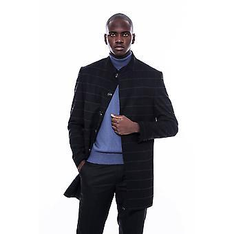 معطف أسود من طوق الماندرين