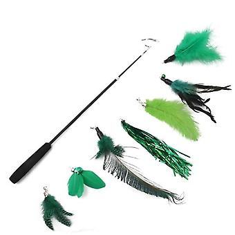 Funny Cat Toy Stick Set With Bell Feather Teaser Wand Interactive Toy 7 Replacement Heads Cat Toys