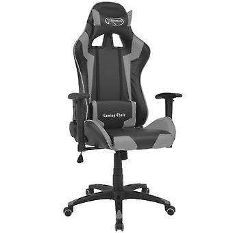vidaXL Bureaustoel Gaming Chair Kantelbaar Kunstleer Grijs