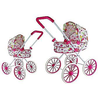 Poppenwagen met grote wielen – Wit met roze bloemen