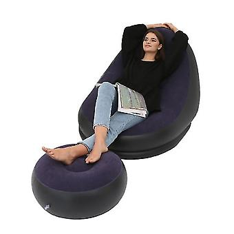 Chaise de canapé de loisir gonflable bleue et repose-pieds canapé de chaise longue pliante extérieure flonçant canapé paresseux x6319