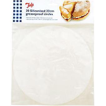 Tala Silikoniserade 23cm Cake Circles, Fetttäta liners (Set of 20)