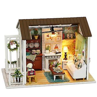 8008# Handcraft wooden diy hut ,led assembled model house toy az11274