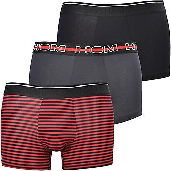 HOM Boxerlines 3-Pack Stripe & Solid Boxer Trunks, Svart/Röd/Kol