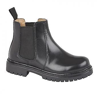 Roamers B525a Unisex Kids Leather Chelsea Stövlar Svart