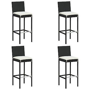 vidaXL garden bar stool with cushion 4 pcs. Black Poly Rattan