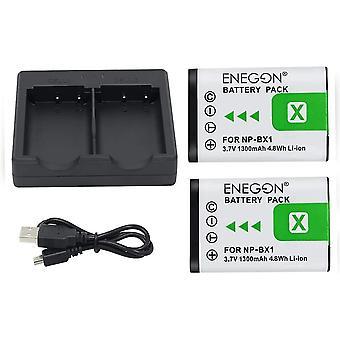 NP-BX1 Ersatzbatterie (2er Pack) und Rapid Dual Charger für Sony NP-BX1/M8 und Sony Cyber-Shot