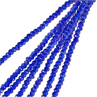 Crystal Beads, Faceted Rondelle 1.5x2.5mm, 2 Strands, Transparent Sapphire AB