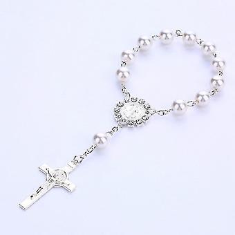Imitation Pearl Beads Catholic Rosary Holy Communion Pendants Bracelet(C)