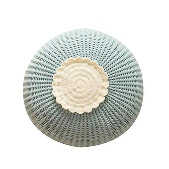 Knitted Circular Children's Toy Pillow Model Room Decorative Cushion(Blue)