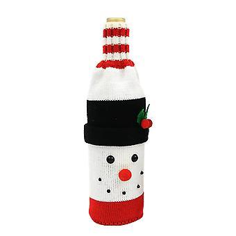 Рождественская бутылка вина Крышка Рождественские украшения Снеговик Вязаное вино Бутылка Сумка