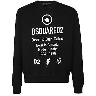 Dsquared2 Cool Fit Født I Canada Logo Svart Genser