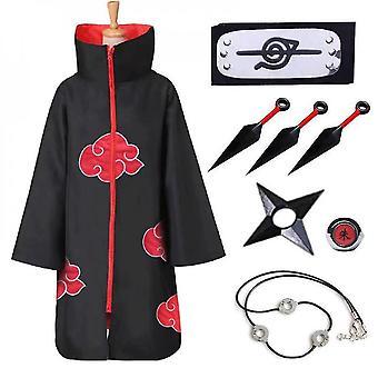 8 Pieces set l naruto akatsuki cloak anime cosplay kostym kit itachi robe halloween cosplay lång cape lc030