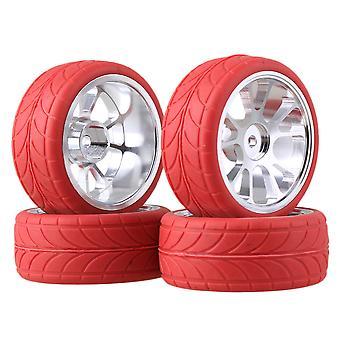 Afstandsbediening speelgoed accessoires rc1:10 op weg auto zilver al. 10 spaak velg & rode pijl rubberen banden set van 4