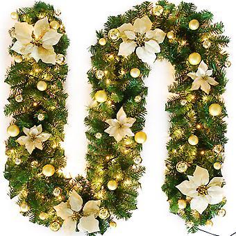 Christmas Garland with Lights Xmas Artificial Wreath for Home Decorations Front Door Indoor Outdoor Garden Gate