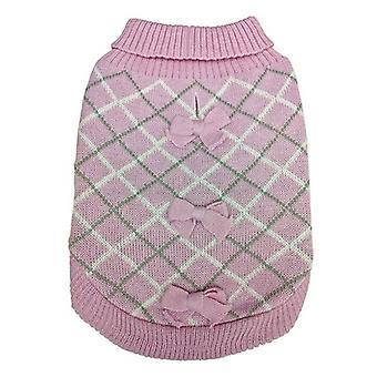 Fashion Pet Pretty in Plaid Dog Sweater Pink - X-Small