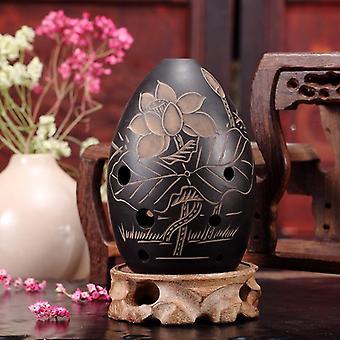 8 Löcher Ocarina Schwarzer Ton Xun Musikinstrument für Kinder Anfänger Geschenk (Lotus)