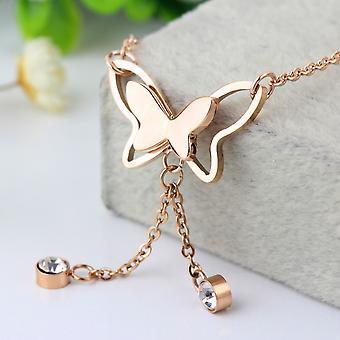 Pillangó egyetlen utánzat Diamond Rose Gold Bojt bojt bokalánc karkötő ékszer