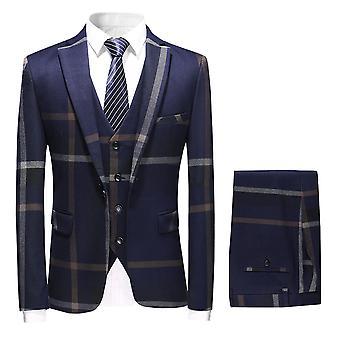 Homemiyn Costume trois pièces rayé à double poitrine pour hommes, costume mince décontracté d'affaires (haut + gilet + pantalon)