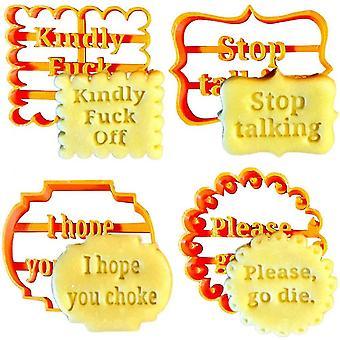 Venalisa 4ks Cookie formy Nastaviť vtipné sušienky frézy s dobrými želaniami nástroje na pečenie