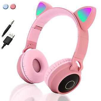 Casque d'oreille de chat sans fil Casque Bluetooth Casque Led Lumières Écouteur pour les enfants adultes