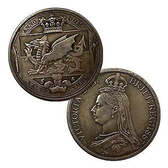 1887 Pièce commémorative Reine Victoria Couronne Antique Laiton Ancienne Médaille d'Argent Artisanat Pièce Chilong Pièce