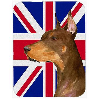Doberman avec anglais Union Jack drapeau britannique verre coupe Conseil grande taille