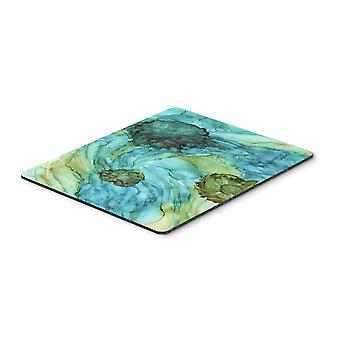 Abstract in Teal Flowers Mouse Pad, Hot Pad or Trivet