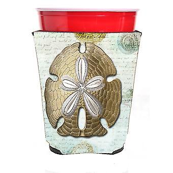 Carolines skatter SB3025RSC Sand Dollar röd Solo Cup dryck isolator Hugg