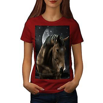馬の空間月動物女性 RedT シャツ |Wellcoda