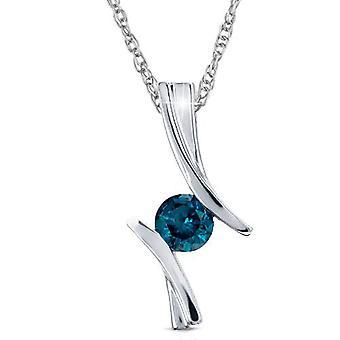"""1 / 2ct bleu diamant Solitaire pendentif 14K or blanc 3/4"""" Tall (bleu, I2-I3)"""