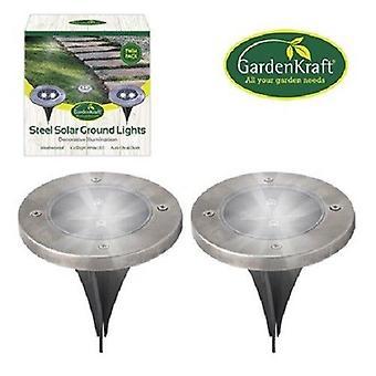 GardenKraft 2 Pack ze stali nierdzewnej okrągłe Ground LED oświetlenie ogrodowe ścieżki Patio
