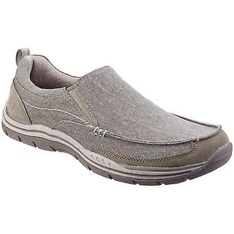 سكيتشرز رجالي المتوقع كشف تومين على قماش مغسول الكسول حذاء بدون كعب حذاء