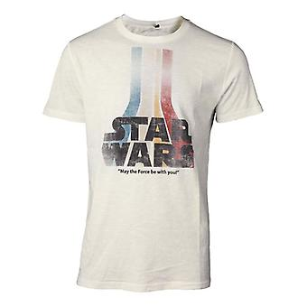 Męskie Star Wars The Force budzi Retro Rainbow Logo Koszulka mały TS061675STW-S