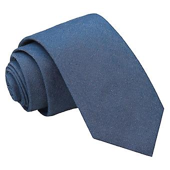 Navy Blue Chambray Cotton Slim Tie