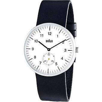 Braun klassisk svart og hvitt klokke med skinn stropp (BN0024WHBKG)