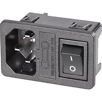 K & B 59JR101-1FRS150 IEC connector 59JR Series (mains connectors) 59JR Plug, vertical mount Total number of pins: 2 + PE Black 1 pc(s)