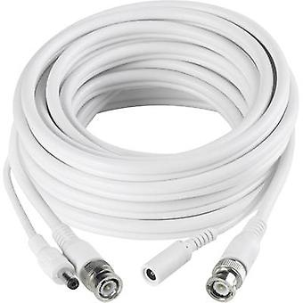 Sygonix 43127V Current, VHS Cable extension [1x BNC plug, DC 5.5 mm socket - 1x BNC plug, DC 5.5 mm plug] 10 m White