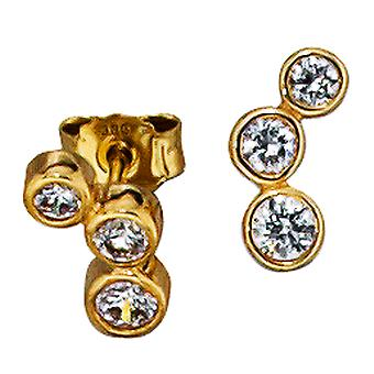 Earring studs studs, 333 / - Gelbgold, 6 cubic zirconia, height approx. 9,4 mm, earring ladies