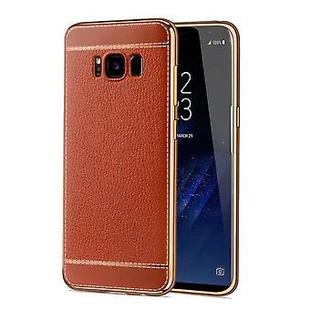 Telefono cellulare custodia per Samsung Galaxy S8 borsa custodia protettiva paraurti ecopelle marrone