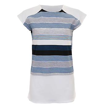 Ladies Cap Sleeve Contrast Crepe Stripe Side Slit Curved Block Hem Top T-Shirt