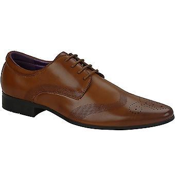 Mens cuir a souligné Toe Lace Up chaussures habillées Brogues intelligente