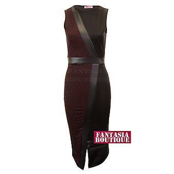 Dames witte wijn Polka Dot zwart Midi Womens PVC Sleevless jurk