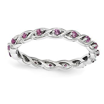 2.5mm 925 Sterling Silver Polished Prong set Rhodium-plated Stackable Expressions Rhodolite Garnet Ring - Ring Size: 5 t