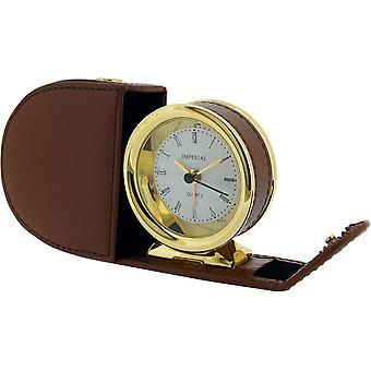 מתנה מוצרי זמן עור מקרה מעורר שעון-זהב/Tan