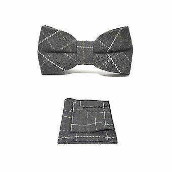 Heritage Check Charcoal Grey Men's Bow Tie & Pocket Square Set | Boxed