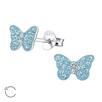 Butterfly Crystal From Swarovski® - 925 Sterling Silver Children's Ear Studs - W24704x